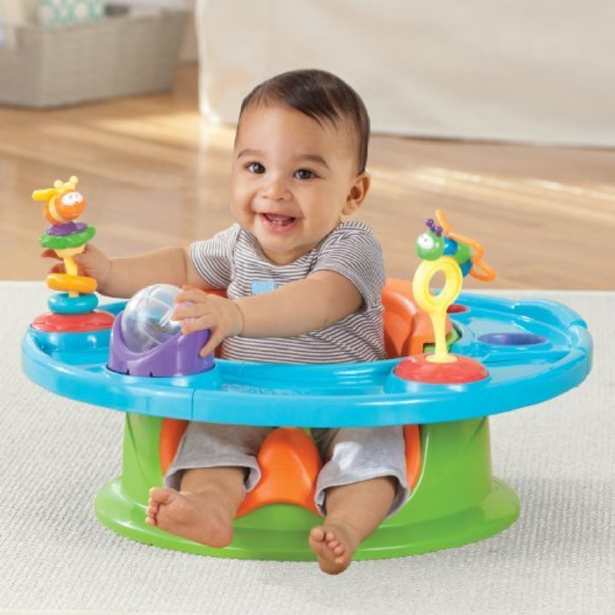 I personally love the Summer Infant 3-Stage Superseat Highchair because you can use it with so many different things. It's very versatile and  sturdy.
