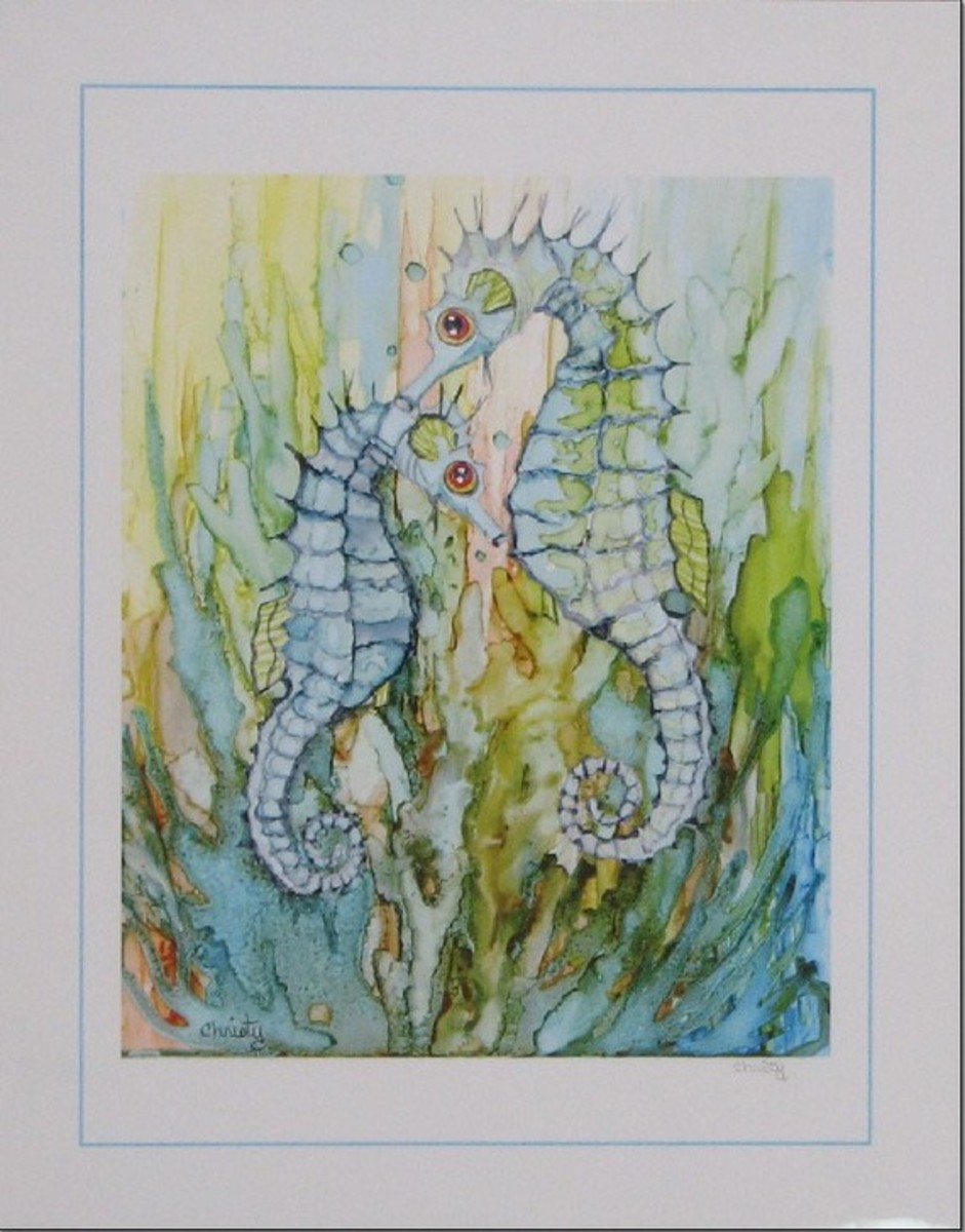 artful colorful drawing of a pair of seahorses by inkbrights from etsy.com