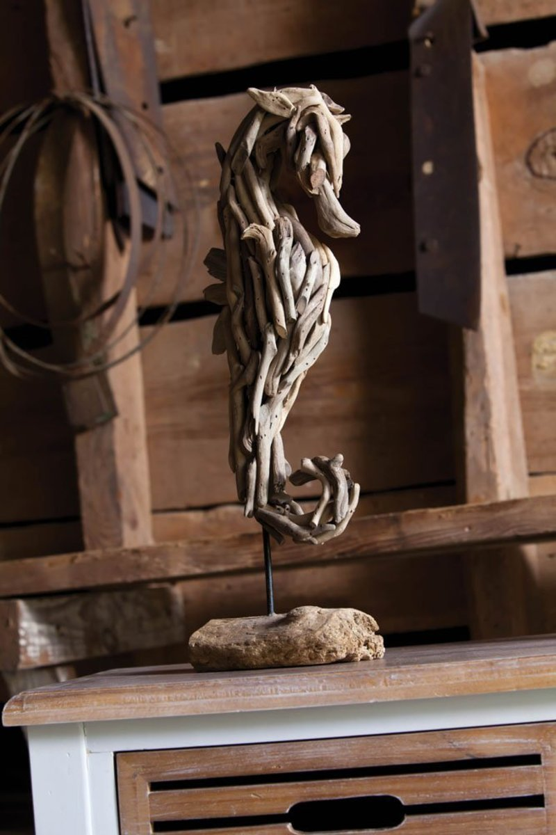 Sea Horse Sculpture - Beautiful Piece of Art - Sea Horse in Drift Wood