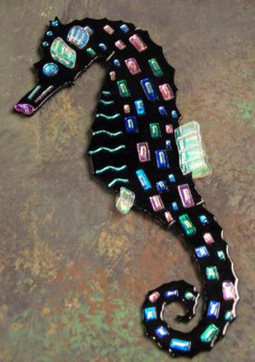 unique online decor's dichroic glass seahorse