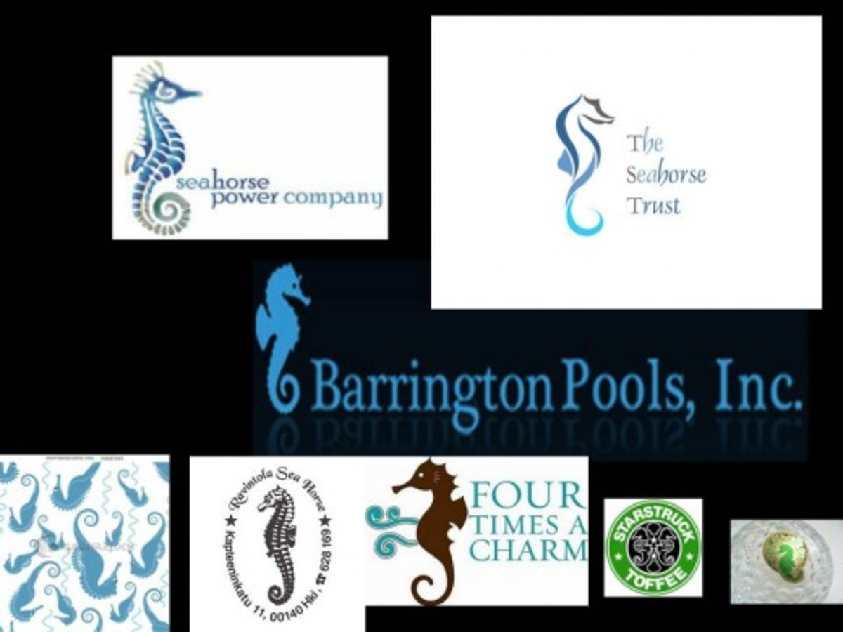 collage of various sea horse logos