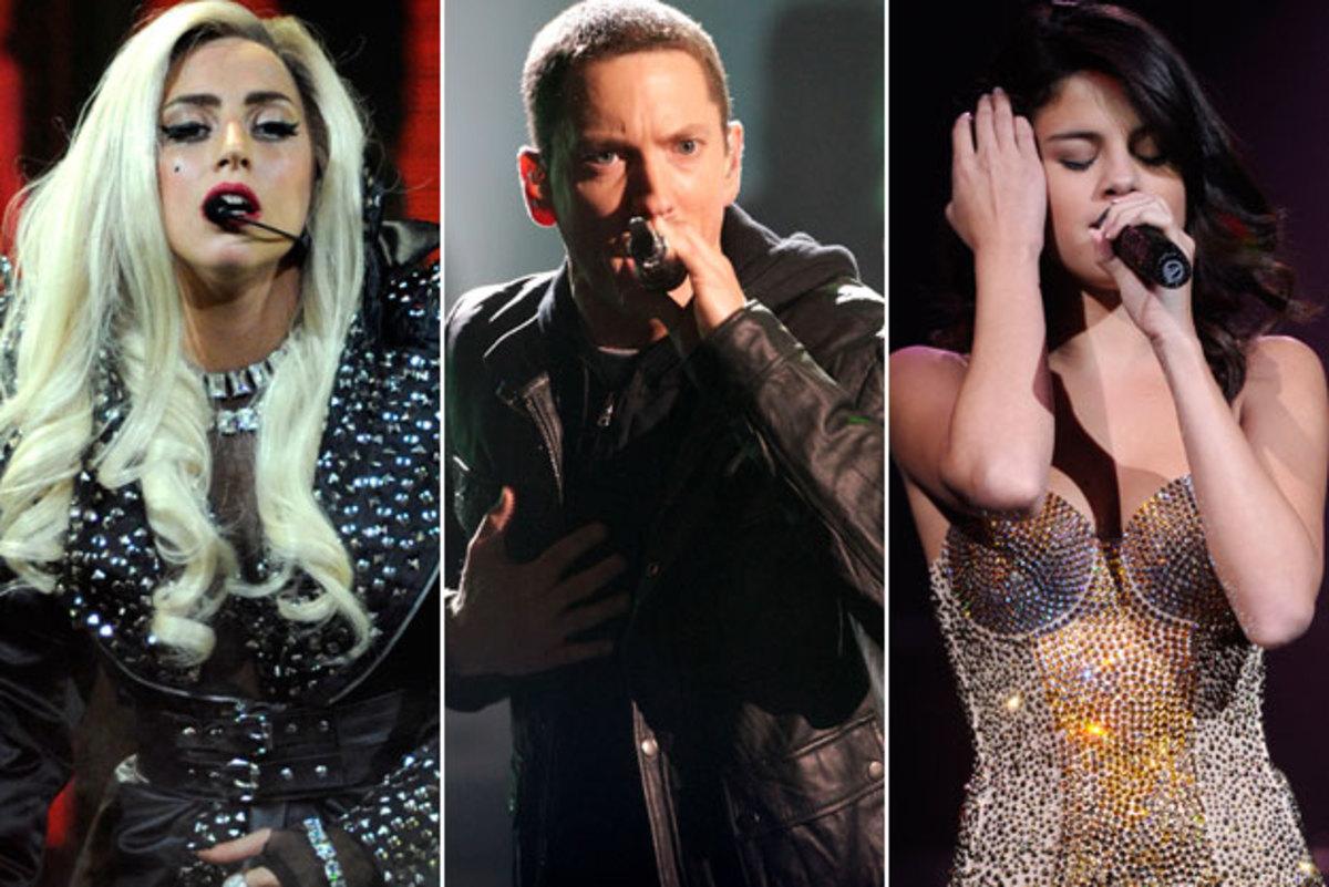 Lady GaGa, Eminem and Selena Gomez