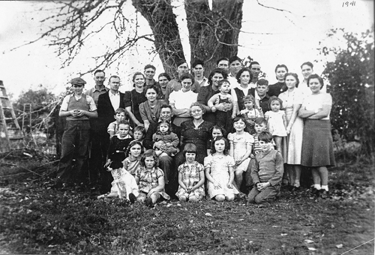 The children and grandchildren of Joshua and Amy Bollinger, my grandmother Frankie second from the right standing; my mother second from right kneeling.