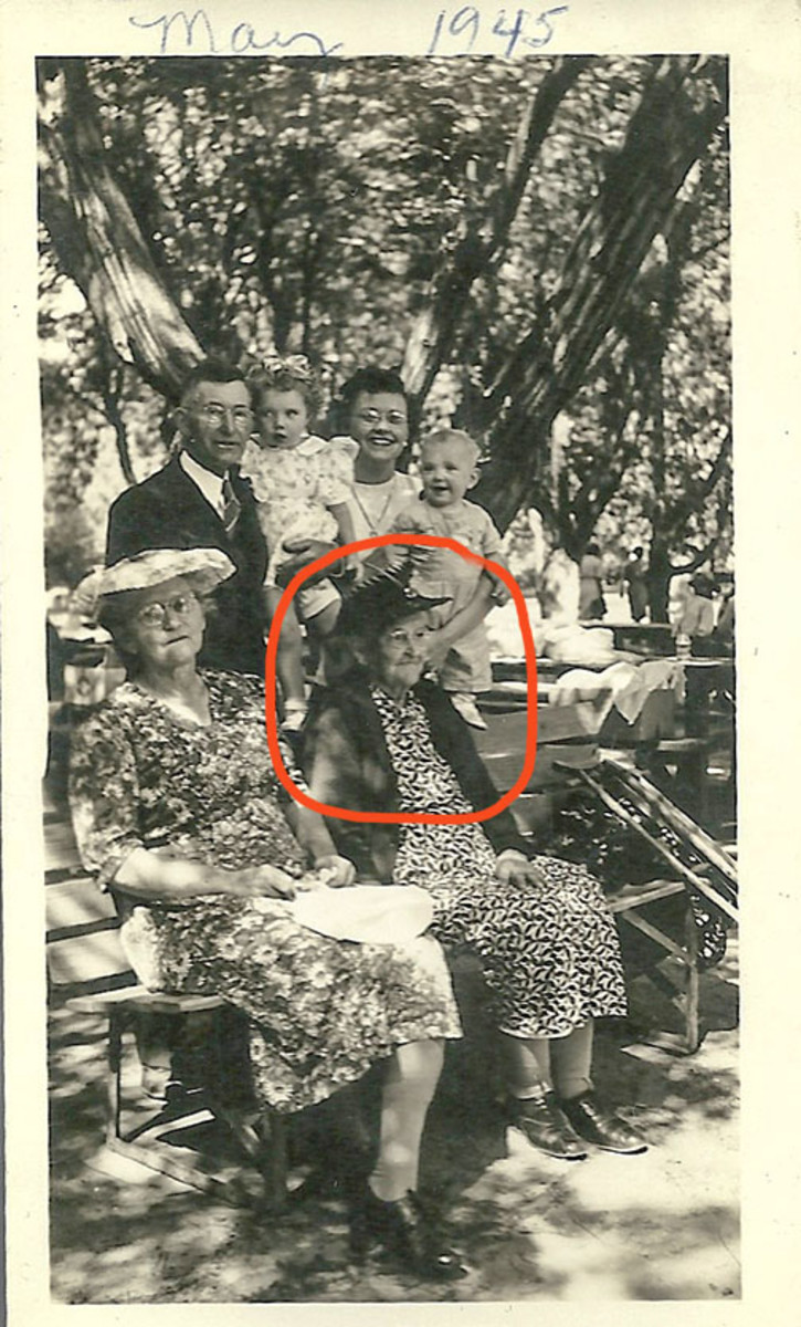 Francis Quintilla Bollinger in 1945 with child and grandchild and great grandchildren.