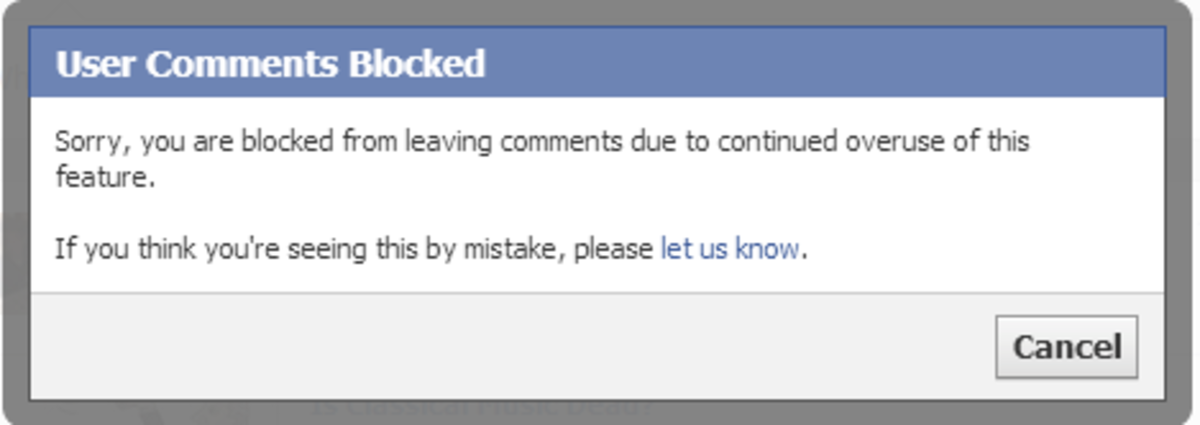 User Comments Block error message from Facebook.