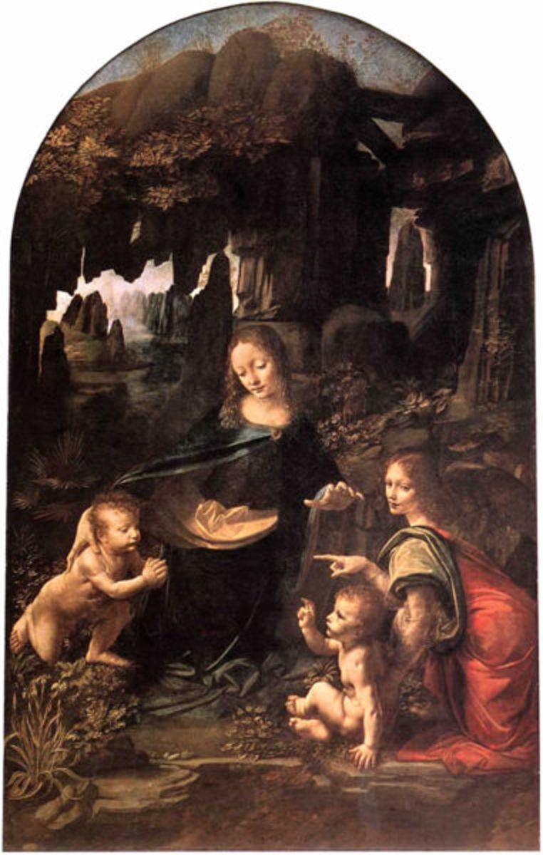 The Virgin of the Rocks painted by Leonardo da Vinci