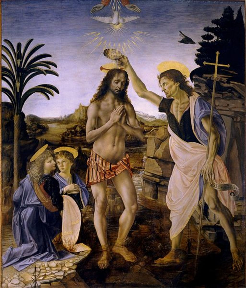 The Baptism of Christ, painted by Verrocchio and da Vinci. Verrocchio ceased to paint after da Vinci's genius painting of the angel to the left of the painting.