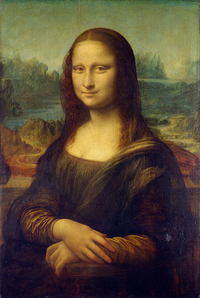 The Mona Lisa, first portrait painting by Leonardo da Vinci.  Today, it hangs in the Louvre Museum in Paris, France.