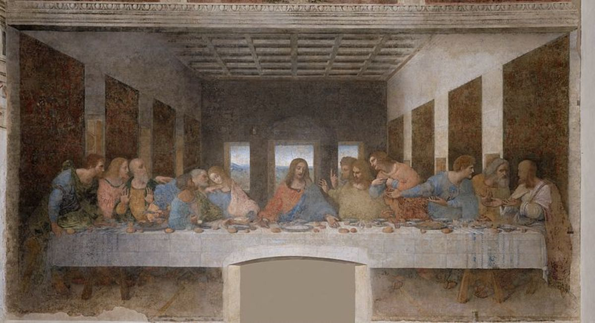 The Last Supper painted by Leonardo da Vinci, the most famous religious painting ever painted.  It hangs at the convent of Santa Maria della Grazie in Milan, Italy.