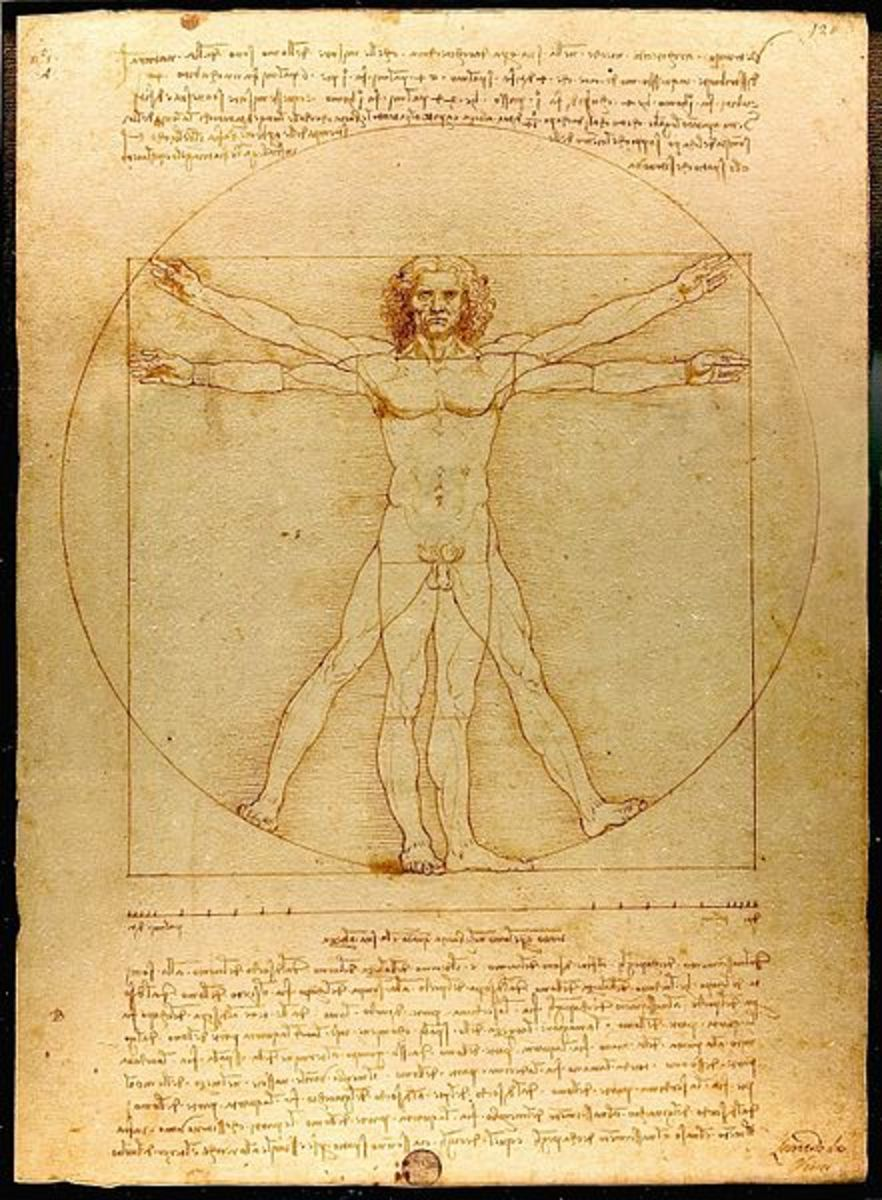 The Vitruvian Man, drawing by Leonardo da Vinci.  So named for the Roman architect, Vitruvius, it described how the human body could be the basis for a system of proportions.  An example of High Renaissance harmony.