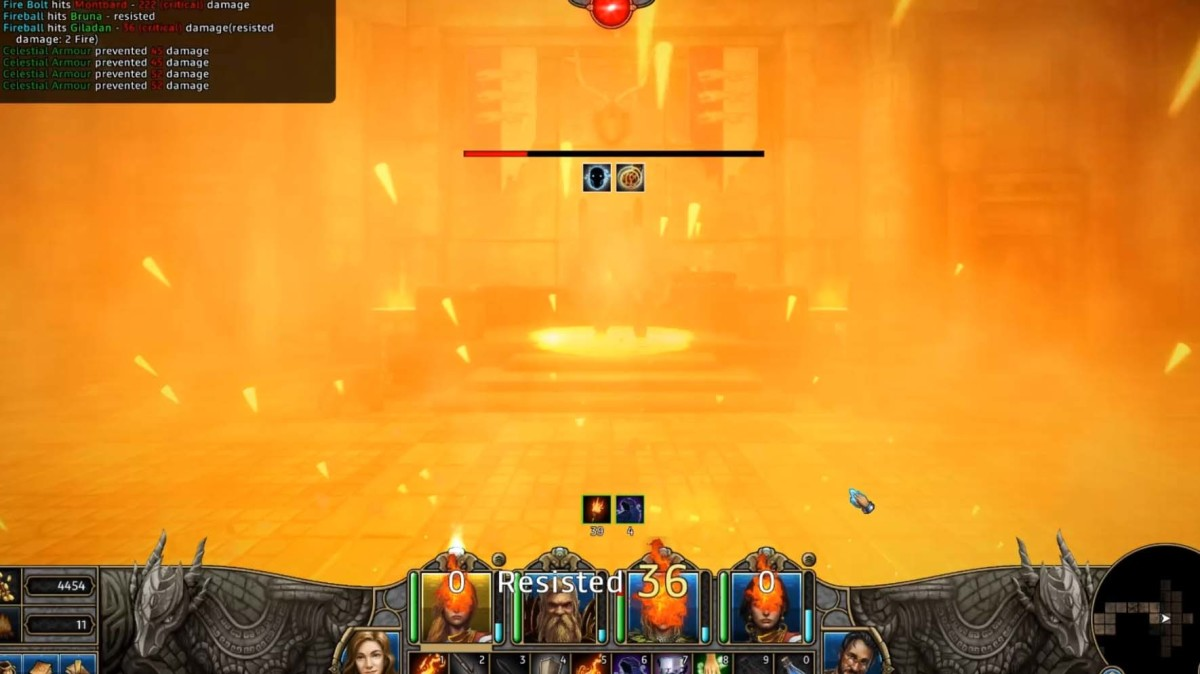 Montbart uses fire-based spells that can annihilate the whole party. Fight fire with fire.