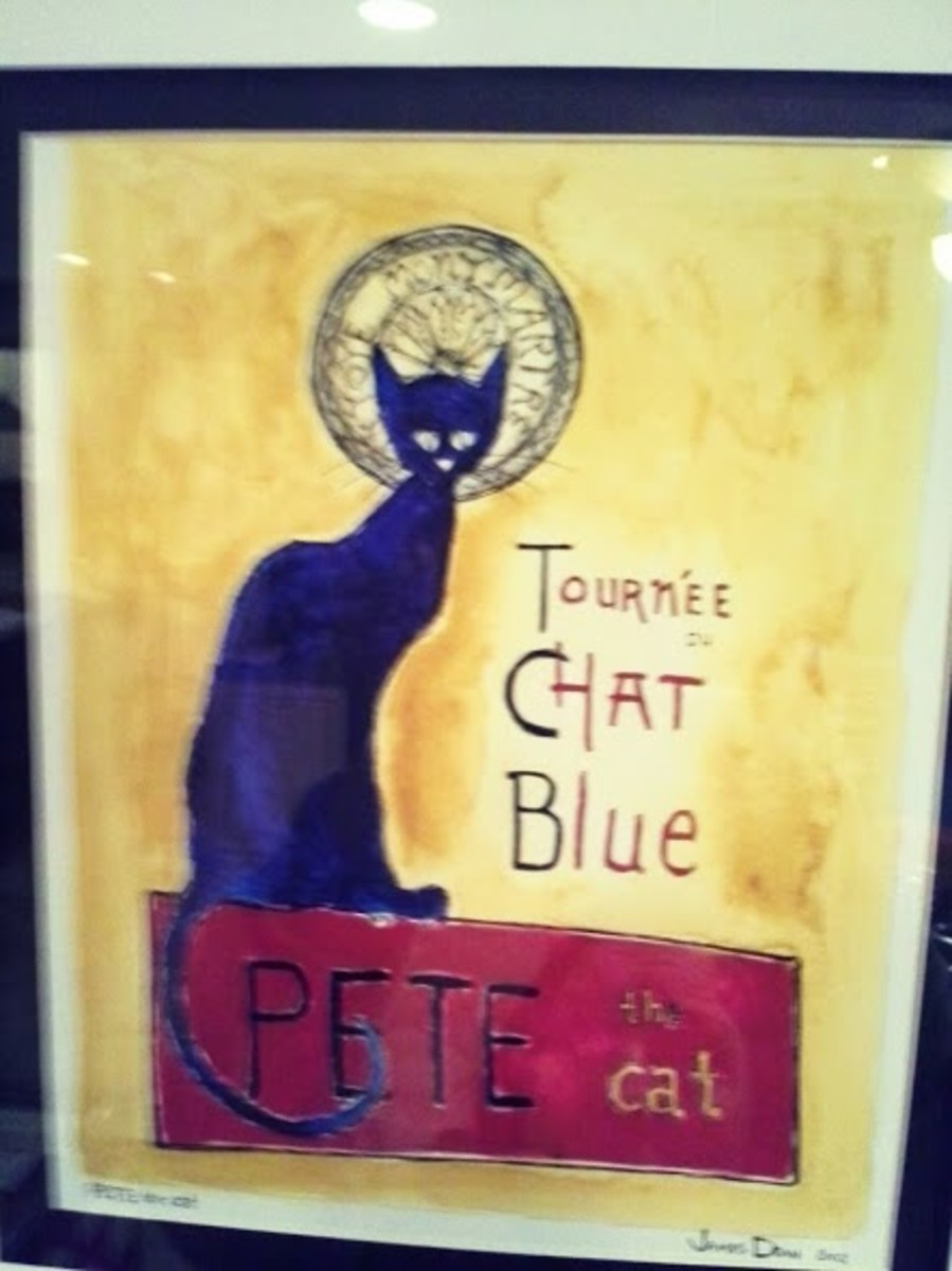 This is a photograph of the other Pete the cat print I own, which hangs in my hearth room.