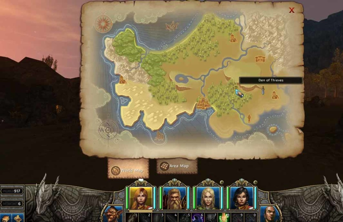 Might and Magic X Legacy World Map showing how to get to the den of thieves. The way is pretty straightforward. Go north of the lighthouse and then travel west to the Shadow Woods.
