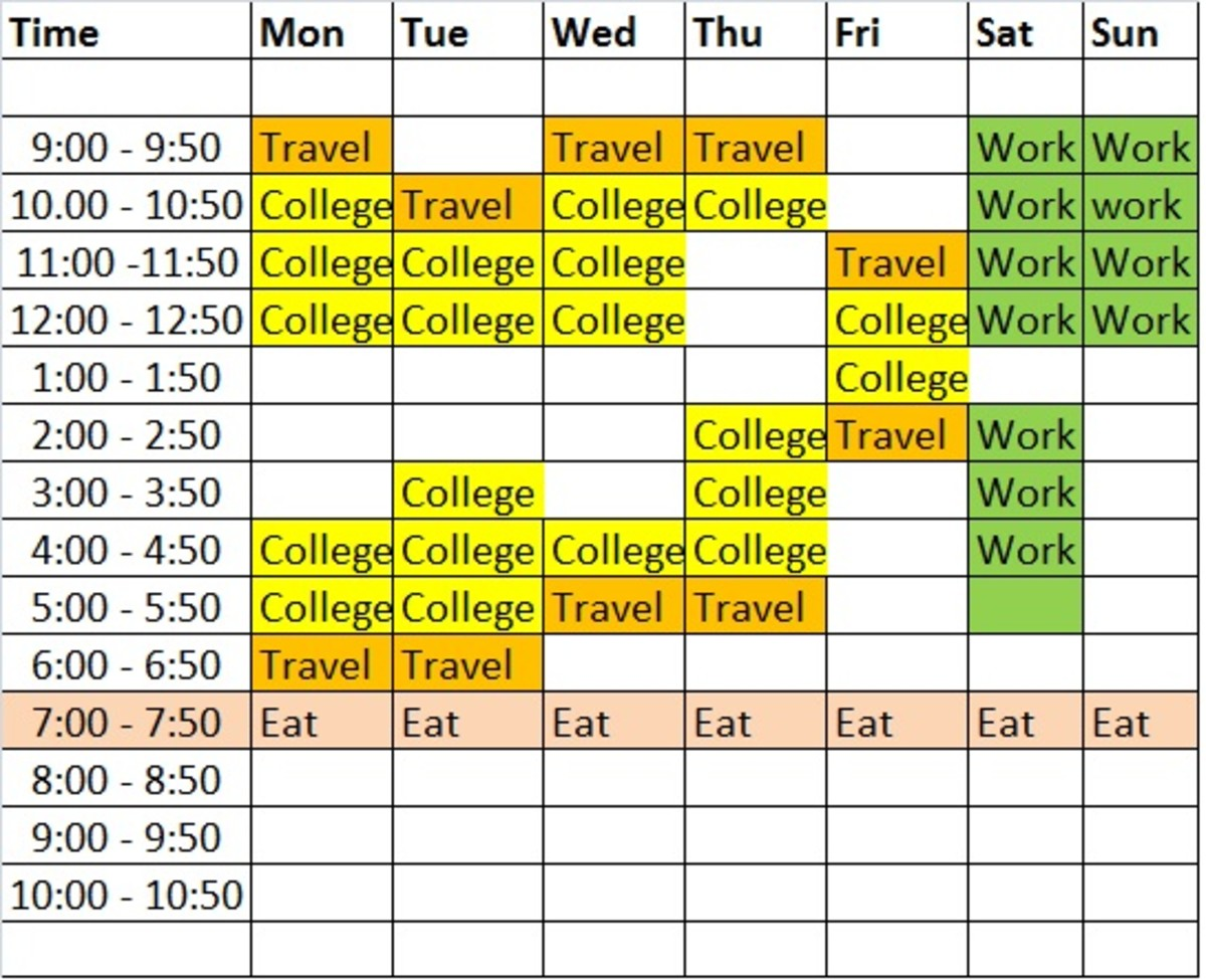Design a college timetable to suit your lifestyle.