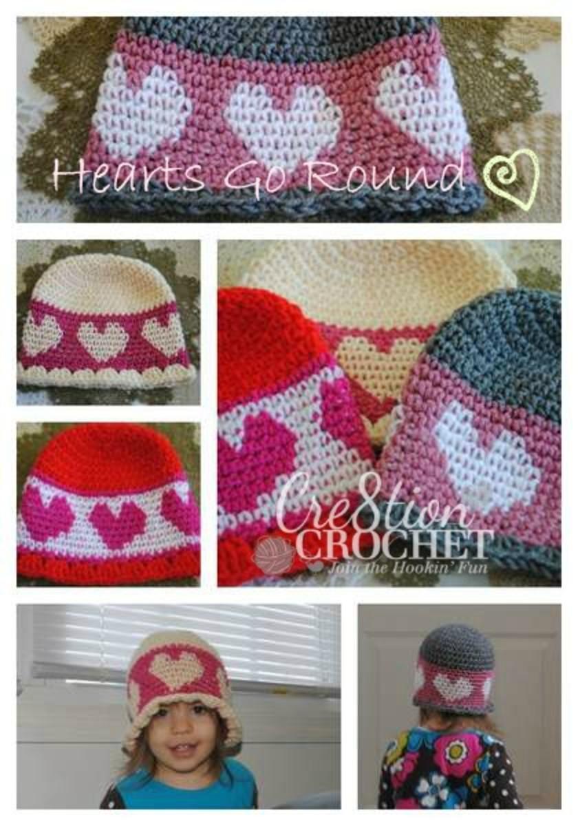 Hearts Go Round Valentine Hat