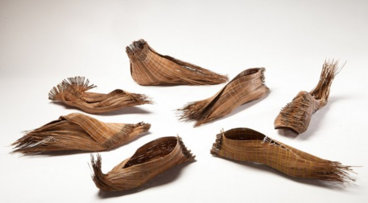 Different types of pine needle slippers. They remind you a bit of bamboo placemats.