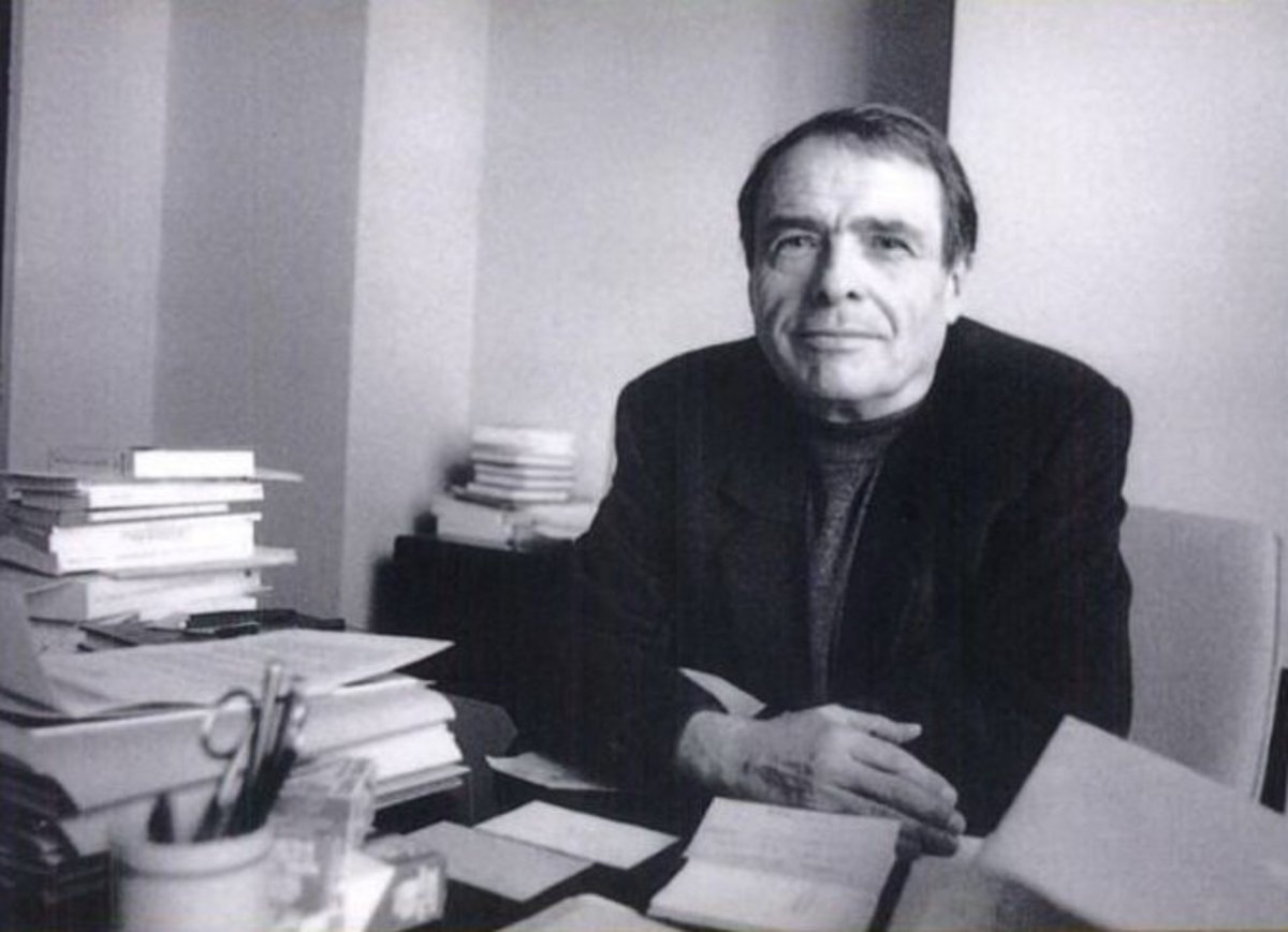 Pierre Bourdieu at his desk.