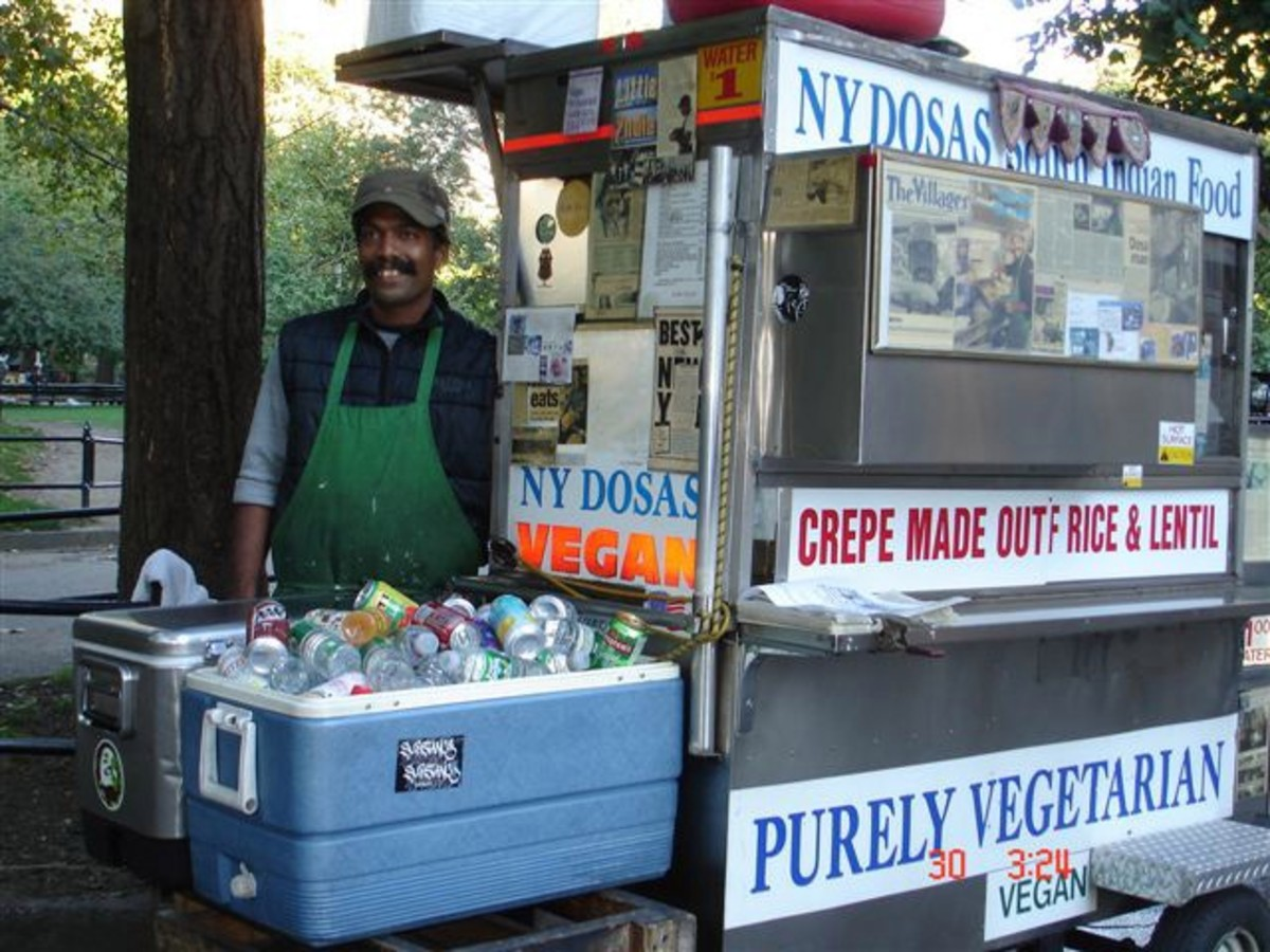 New York City vendor selling Indian crepes; example of street food from a cart.