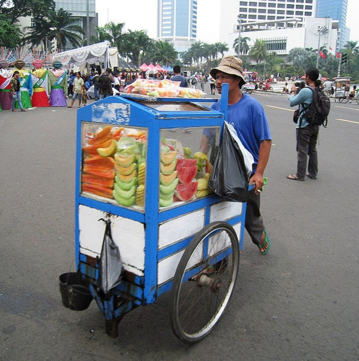 Fresh fruit vendor, Jakarta, Indonesia; example of street food cart.