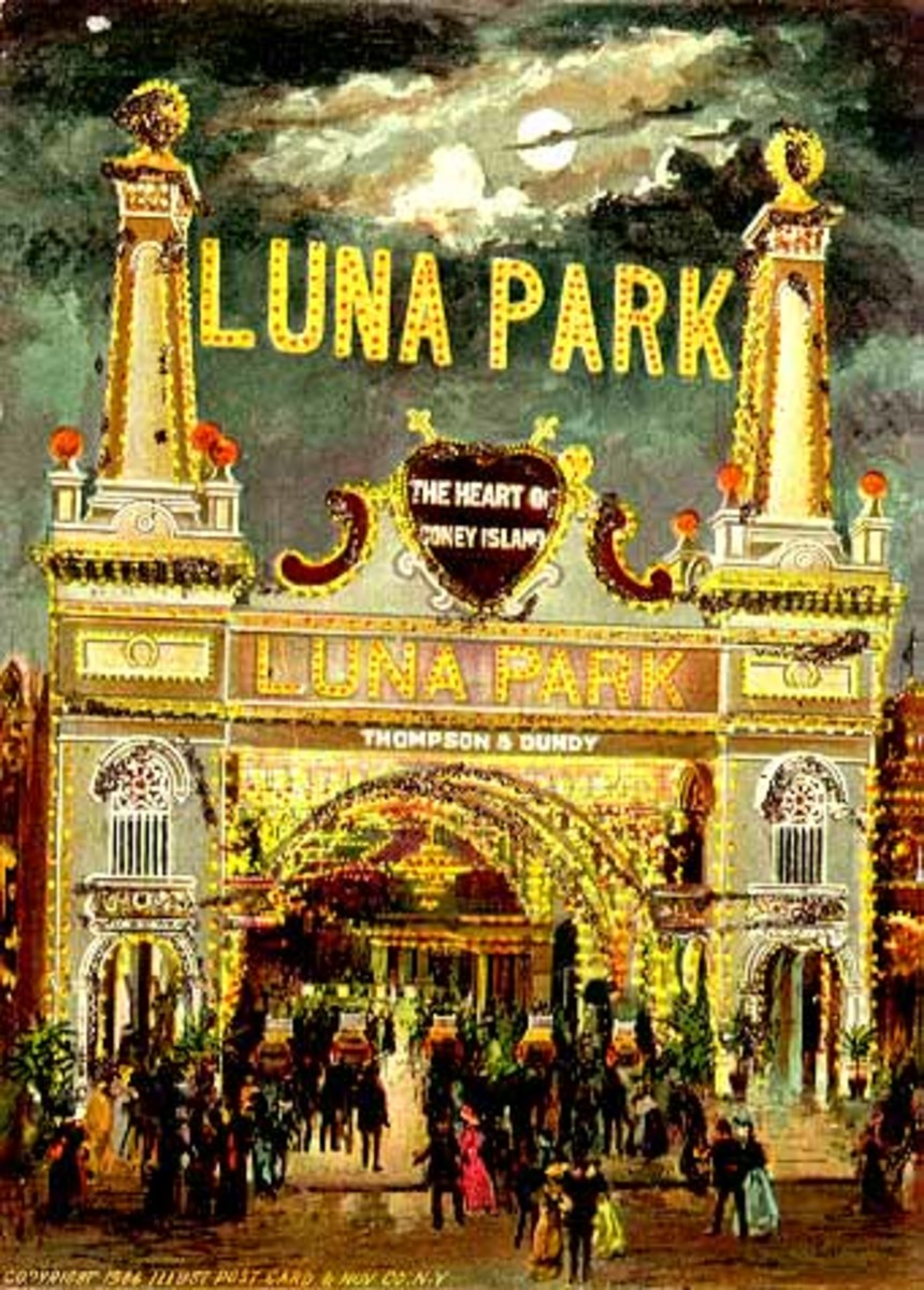 "The entrance to Luna Park. Above the gate read ""The Heart of Coney Island"" because the park was situated in the very center of the amusement district."