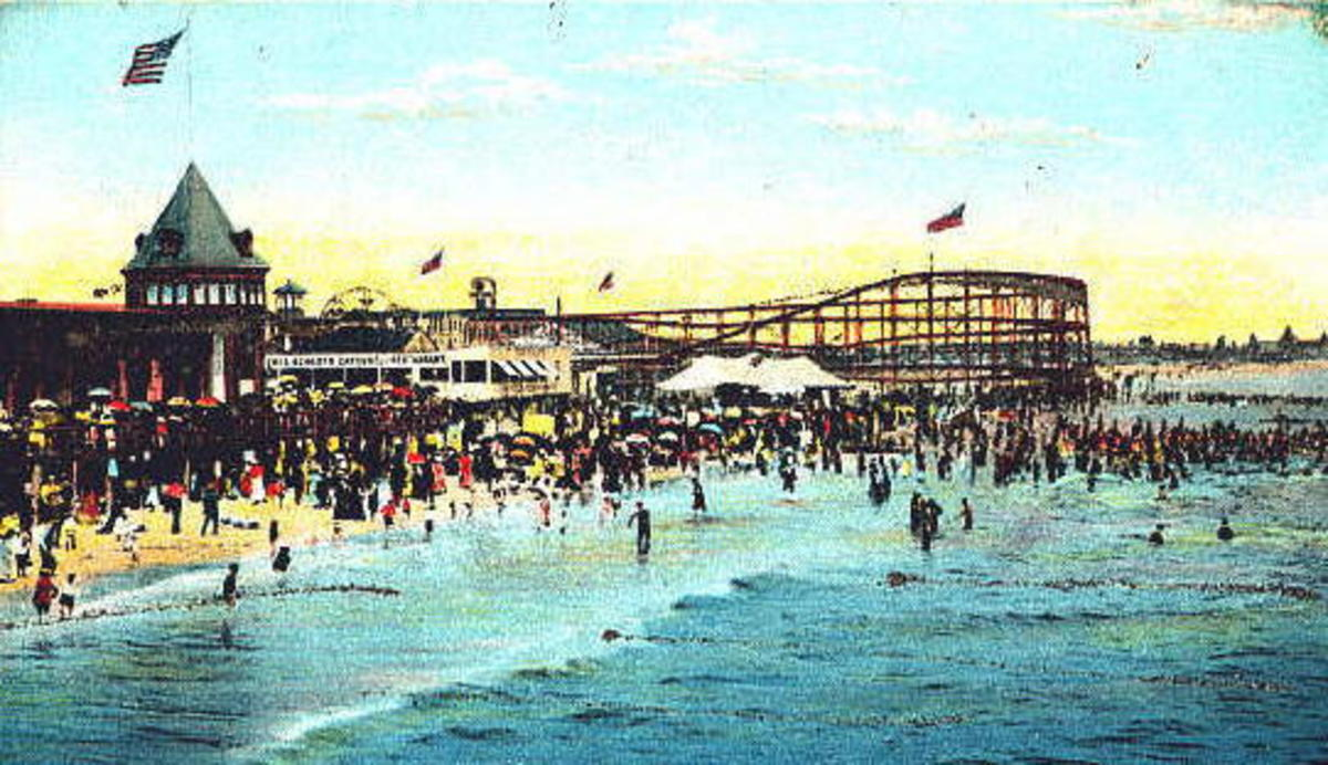 Part of Rockaway's amusement district showing the LA Thompson coaster that extened into the ocean