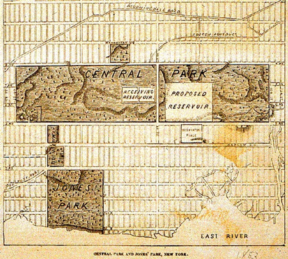 This map shows Jones's Wood ( bottom ) as compared to Central Park.