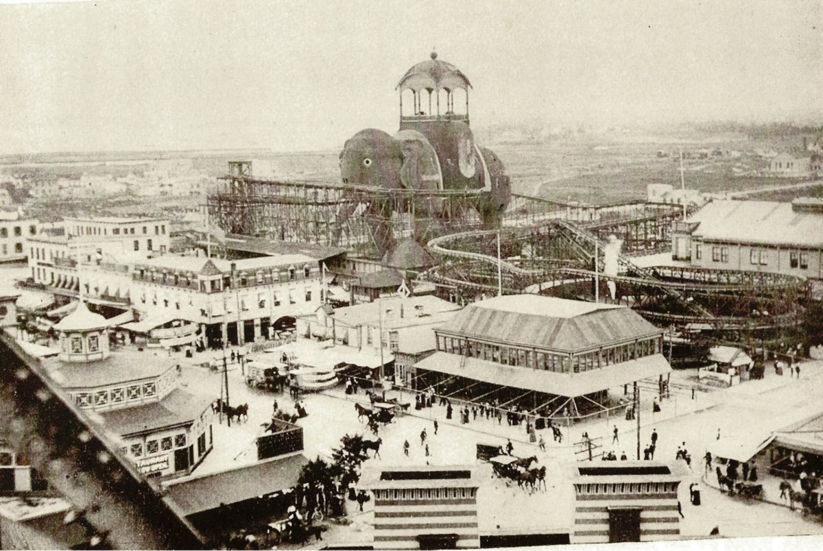 The Elaphant Hotel was one of the first attractions built at Coney Island, and helped set the tone for the attractions that followed. In later years a roller coaster was built around it.