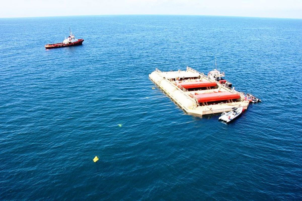 Wave roller power plant delivers electricity to the Portuguese grid.  Photo by AW Energy Oy, courtesy Wikimedia Commons.