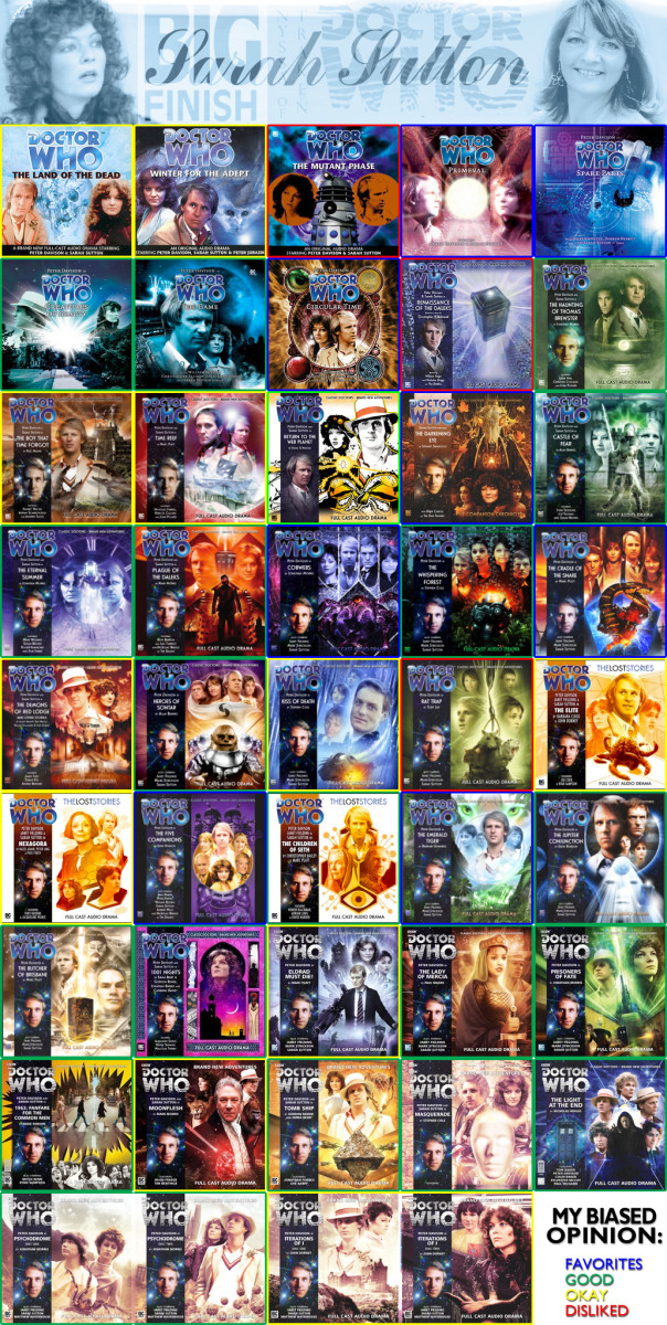 Sarah Sutton's Big Finish Doctor Who episodes as of fall 2014. Amazing: Sarah was in only 12 TV episodes, but 44 full-length audio episodes! (Own collage)