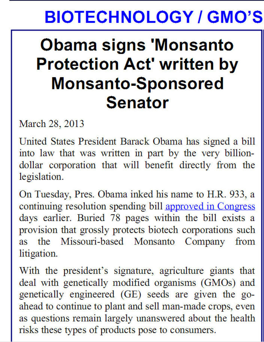 The law protecting Monsanto