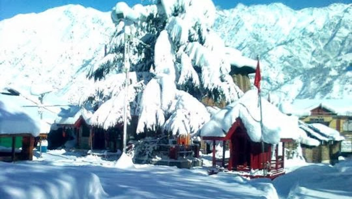 The Snow Covered Temple Complex  at Bharmour