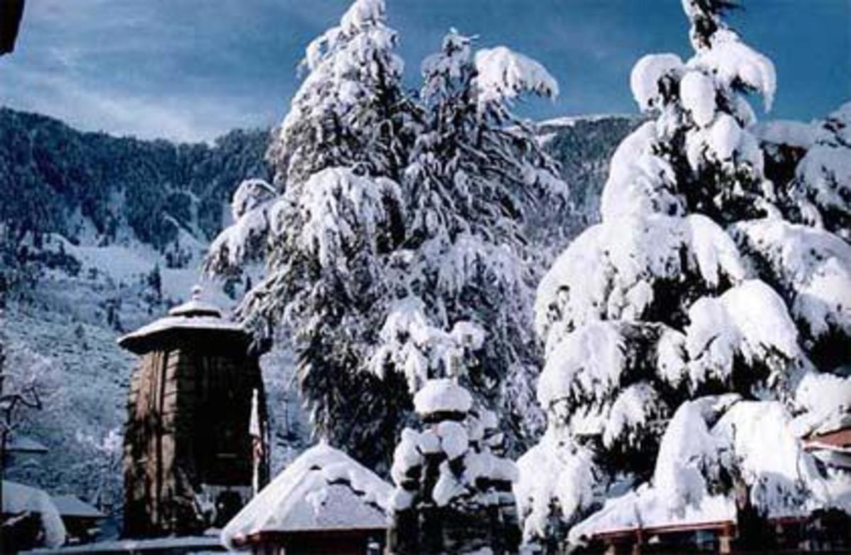 "The snow covered ""Chaurasi"" or 84 temples complex at Bharmour"