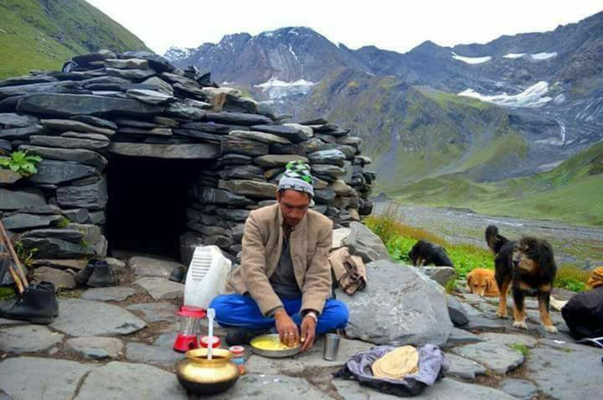 A shepherd outside his temporary hut at higher regions during summer