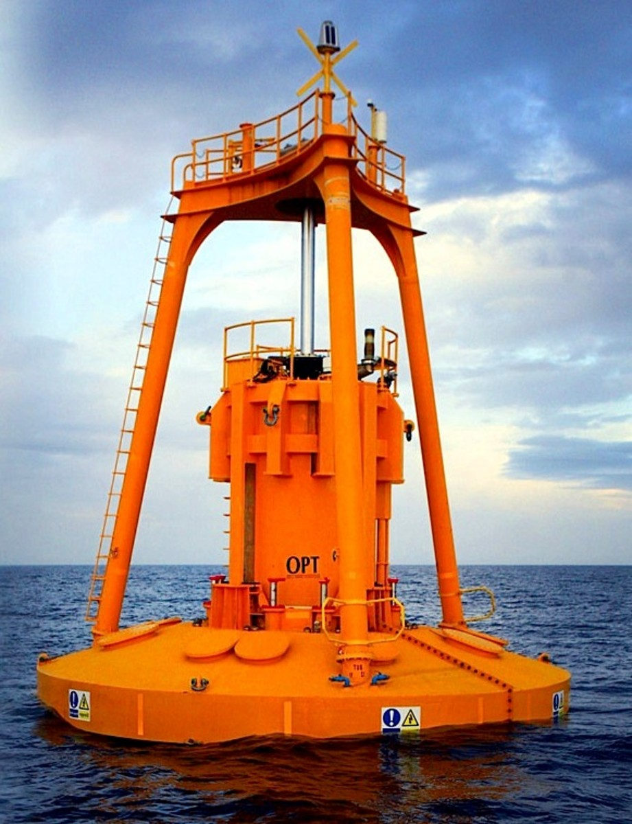 The OPTbuoy wave energy float deployed in Scottish waters.  Photo by Ocean Power Technologies, courtesy Wikimedia Commons.
