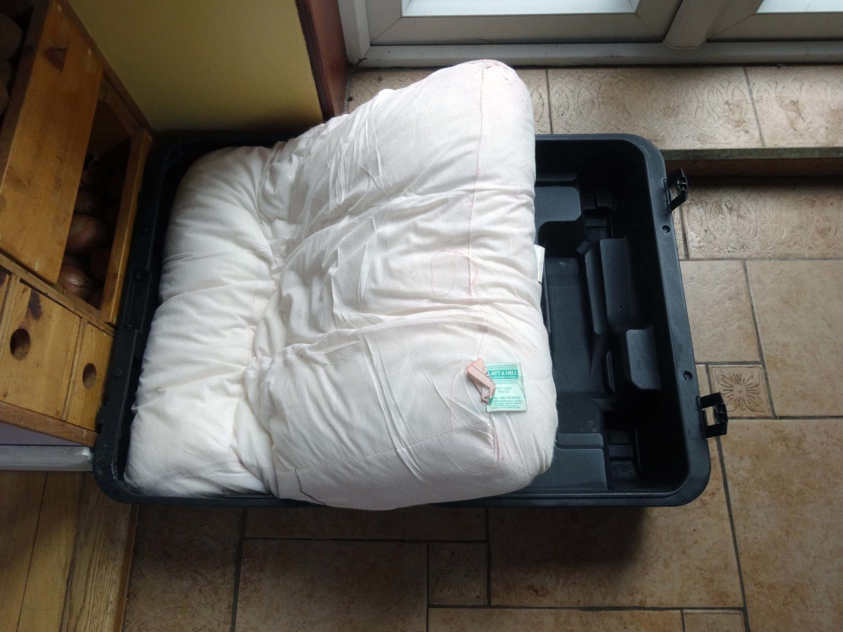 Cushions or foam inserted to provide protection for equipment stored in the plastic box.