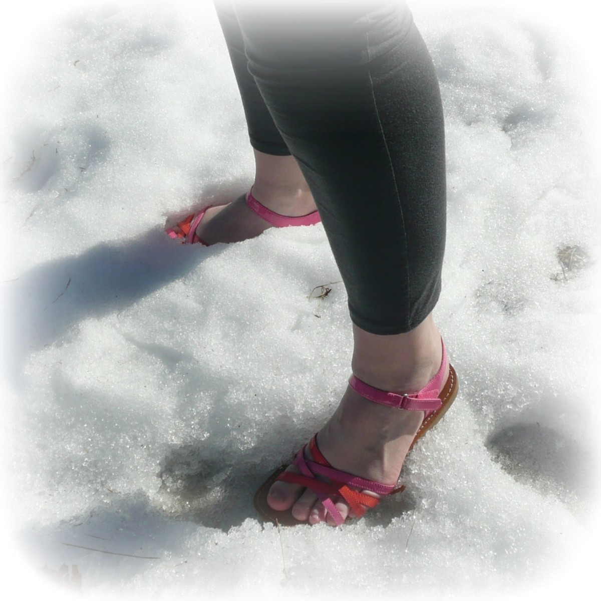 Stay out of the snow when wearing sandals.