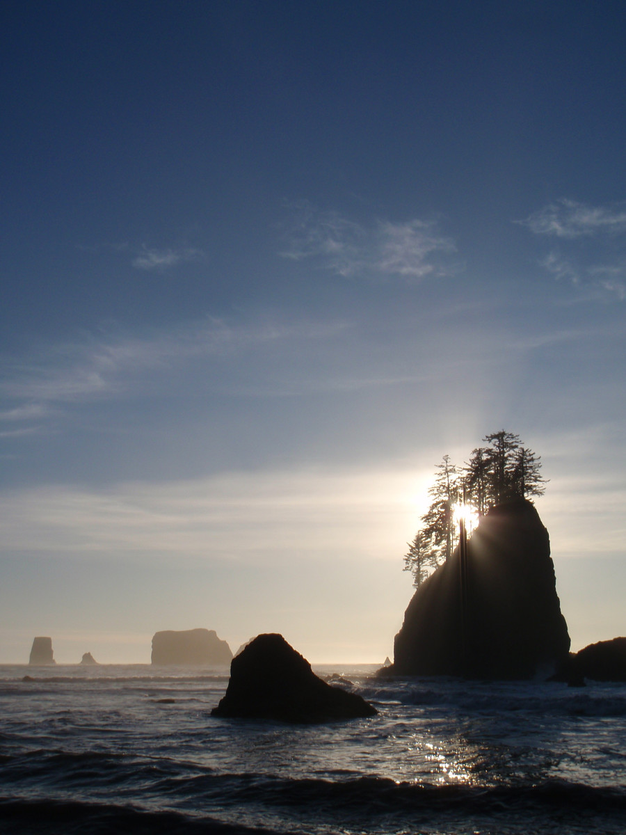 The Pacific shores along the Olympic Peninsula sprout fangs of rocks. This is where La Push Beach part of Quileute tribal lands is located. La Push means 'mouth' in the Chinook jargon, and is the fictional home of the werewolves from Twilight.