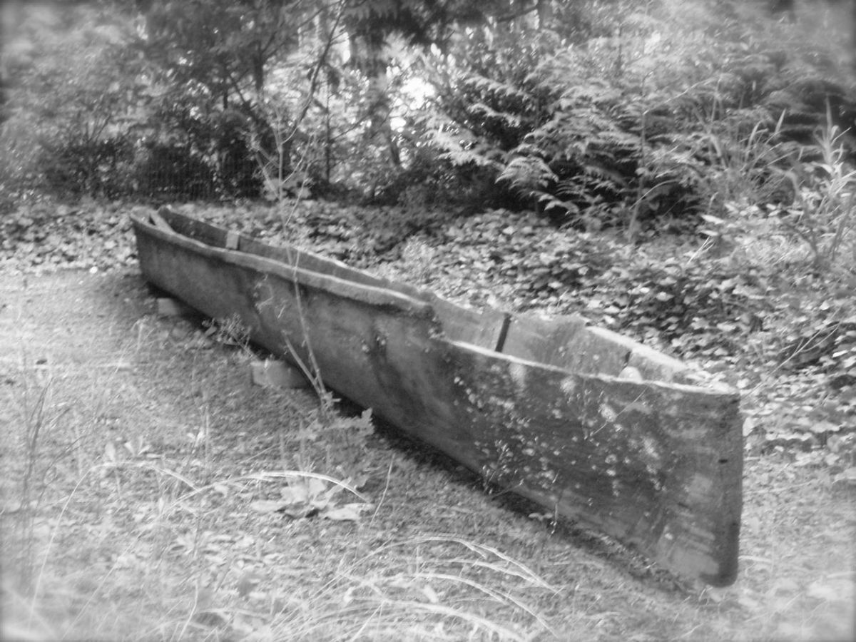 "This traditional canoe was carved by the late Skokomish elder Joseph Andrews. Skokomish means ""people of the river"" and the canoe is an important element of their history and culture."