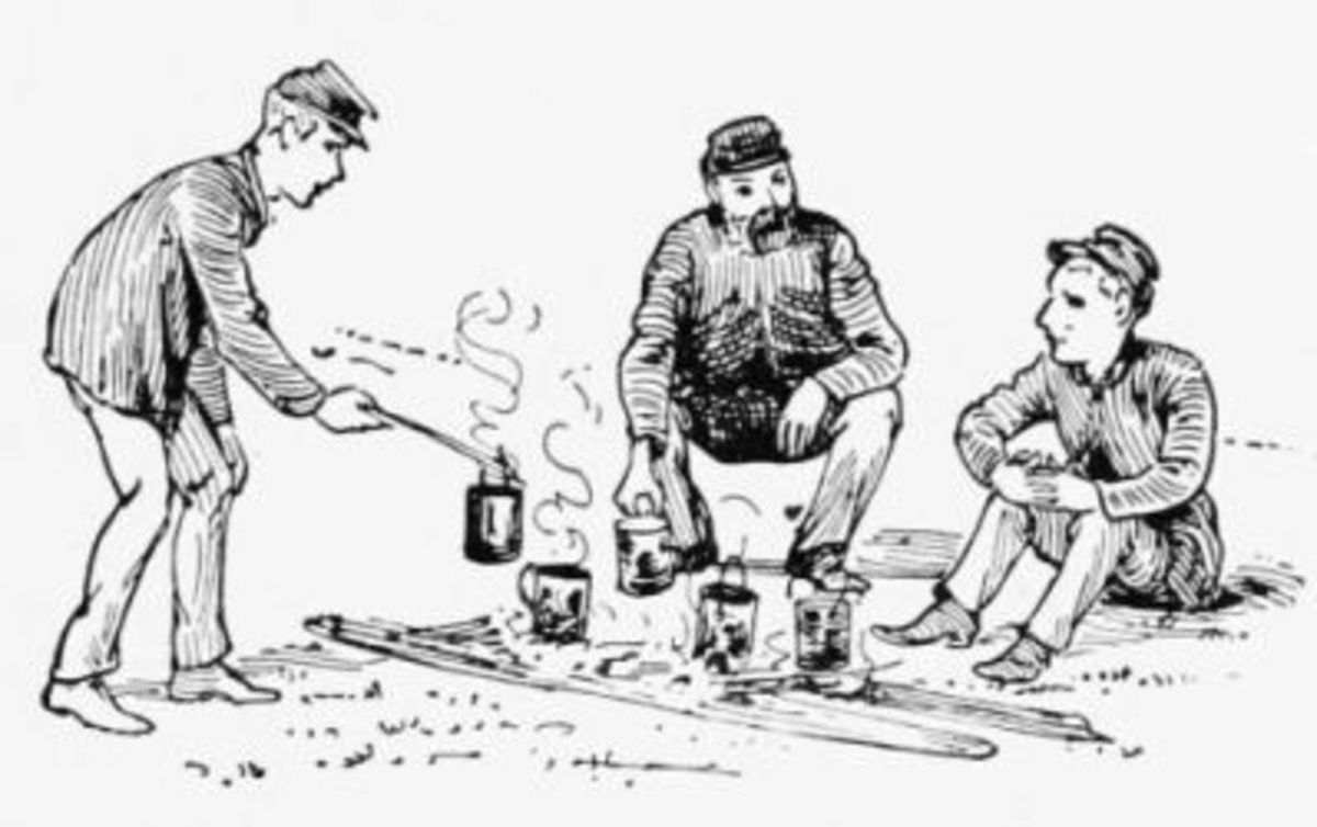 Sketch - troops make coffee around the new campfire