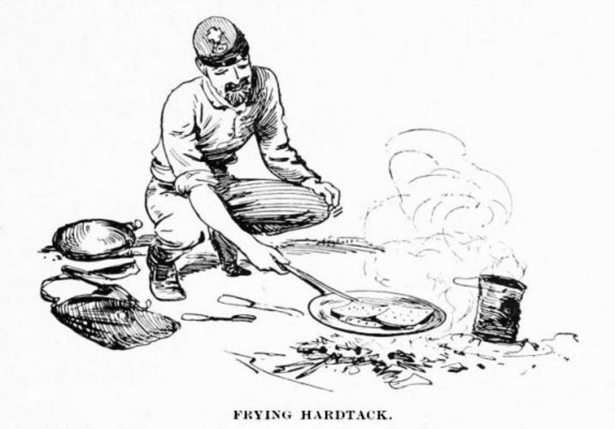 Sketch - a soldier fries his hardtack