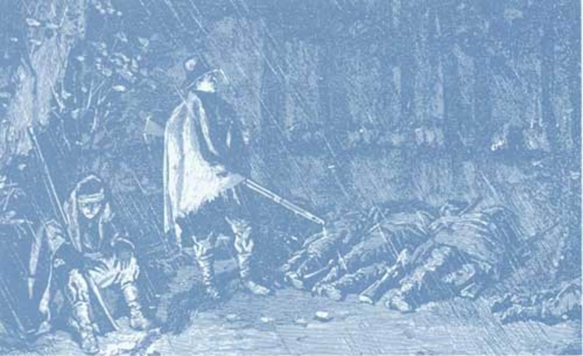 Sketch - troops try to sleep in the rain