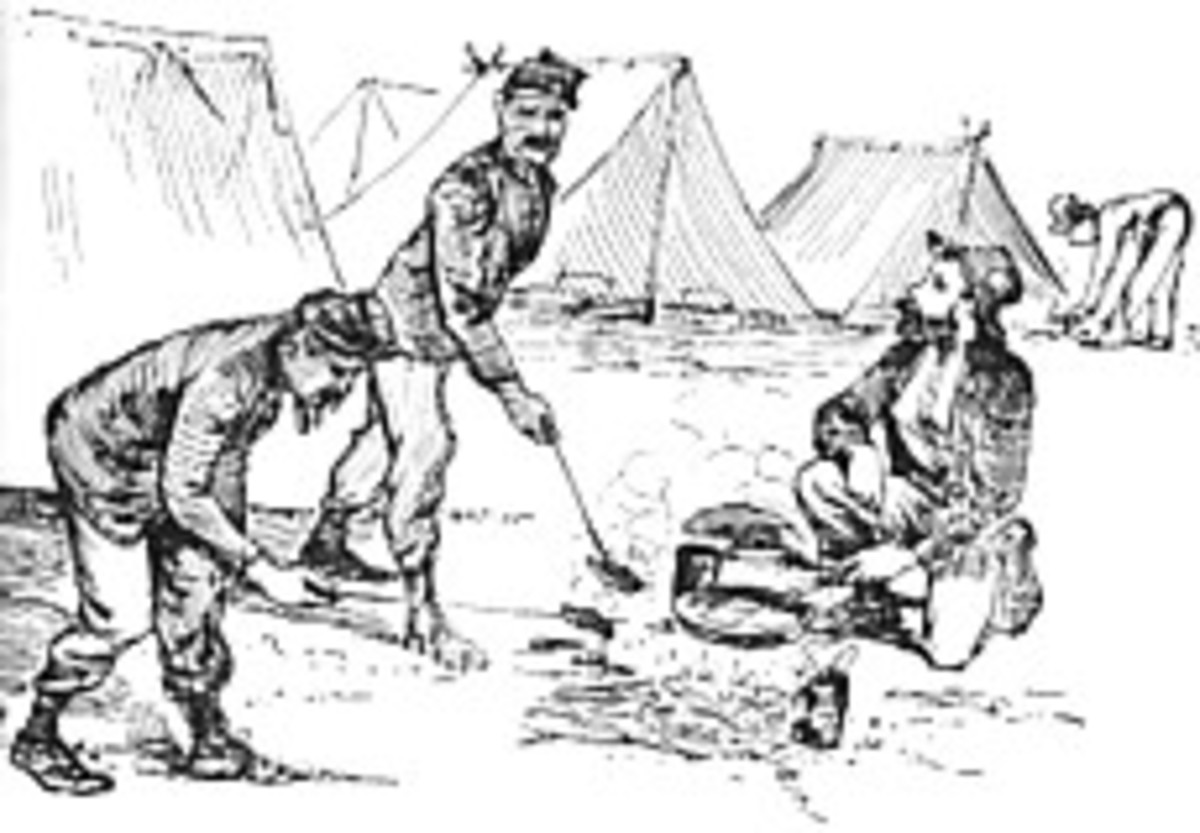 Sketch - troops broil their meat (beef or pork) over the fire via rammers or bayonets