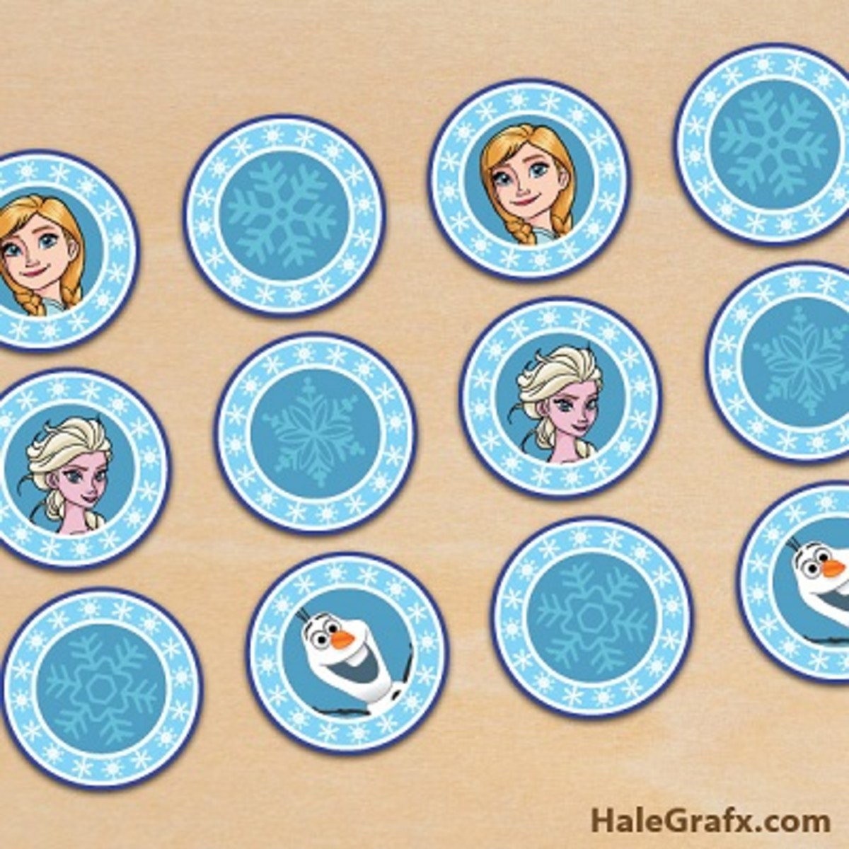 Disney Frozen cupcake topper templates