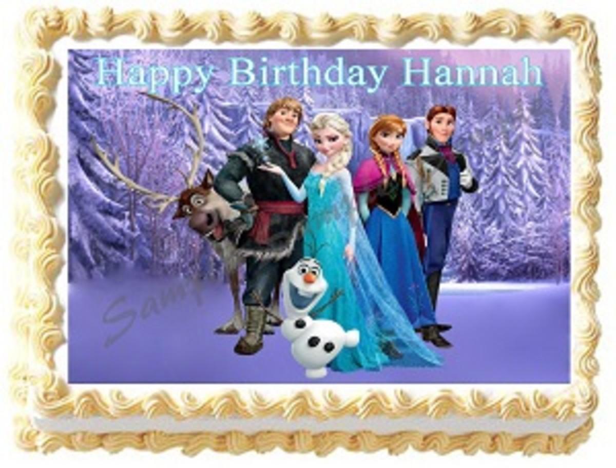 Disney frozen cake with edible image