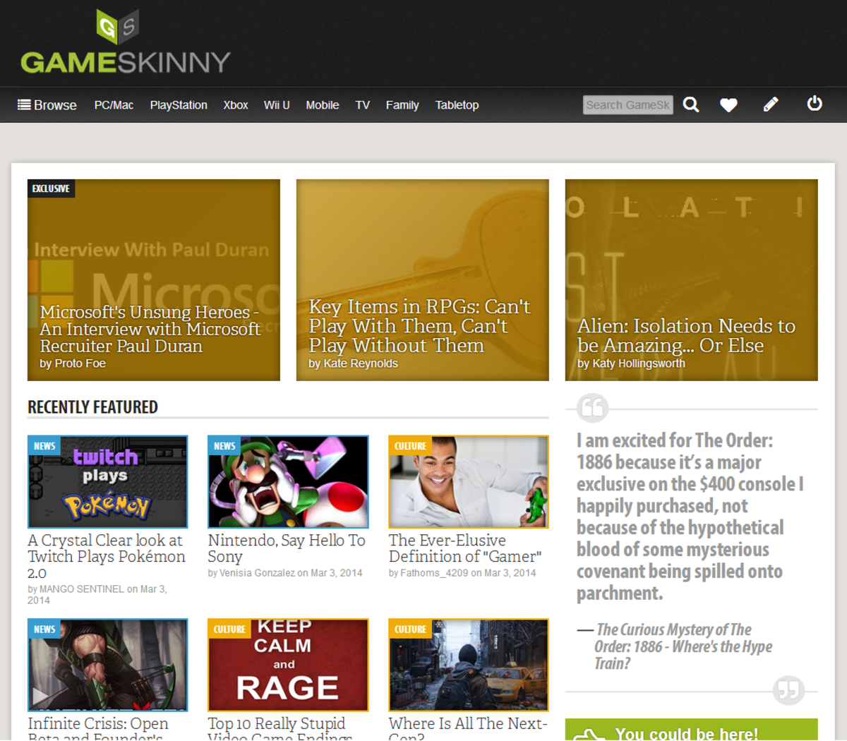 GameSkinny Home Page (March 2014)