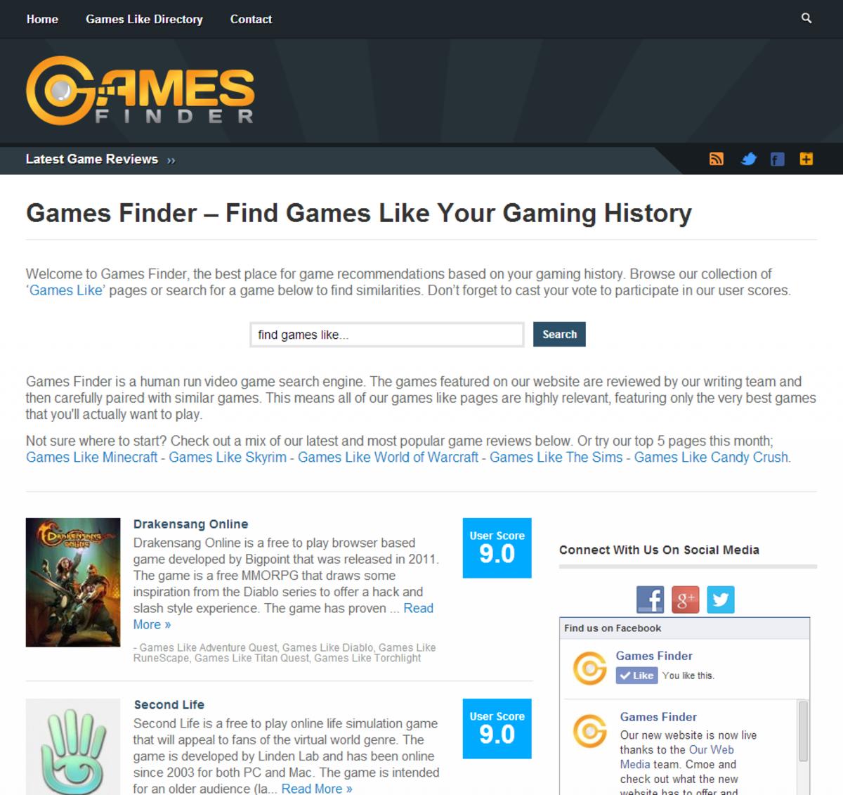 GamesFinder Home Page (March 2014)