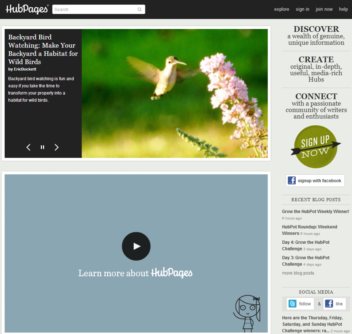 HubPages Home Page (March 2014)