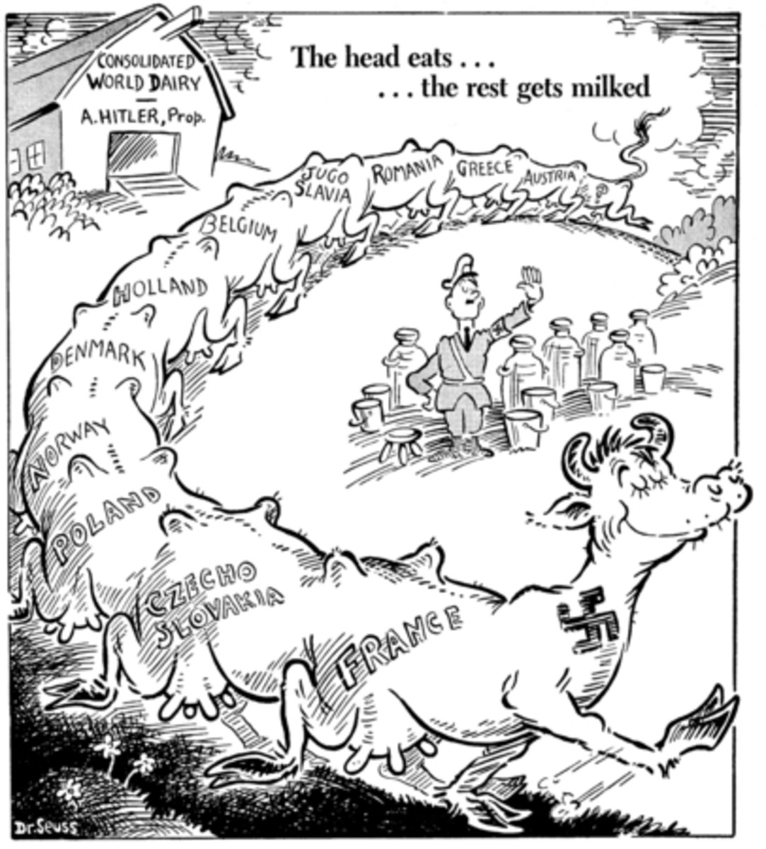 The head eats... the rest gets milked, published by PM Magazine on May 19, 1941, Dr. Seuss Collection, MSS 230. Special Collections & Archives, UC San Diego Library