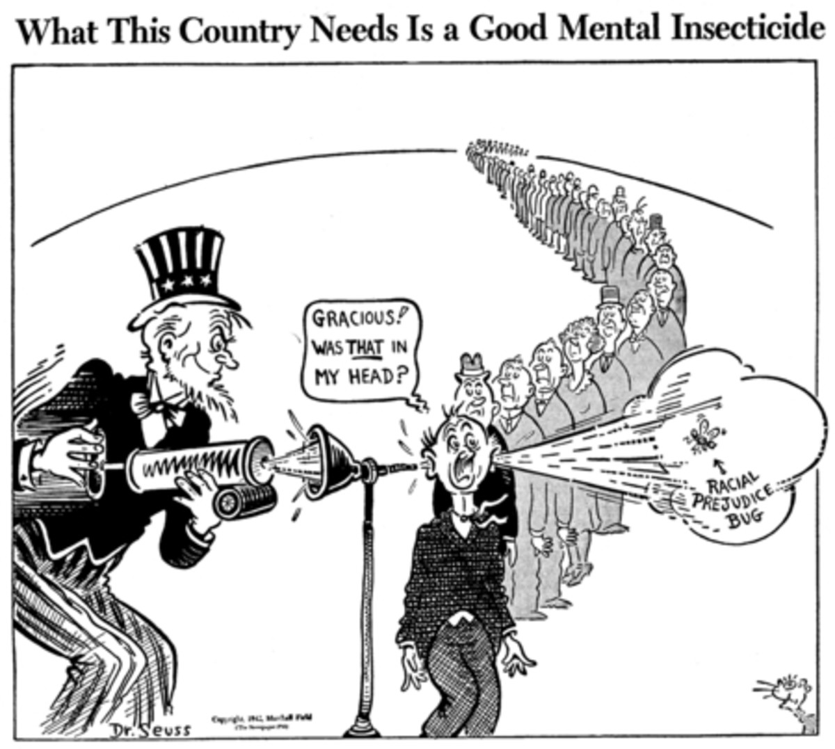 What this country needs is a good mental insecticide, published by PM Magazine on June 11, 1942, Dr. Seuss Collection, MSS 230. Special Collections & Archives, UC San Diego Library