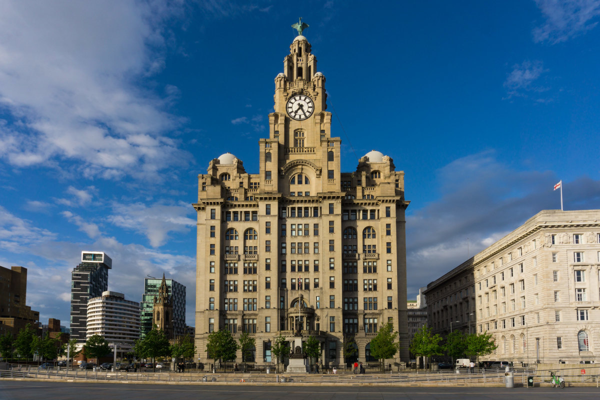 "Liverpool architecture, the Royal Liver building is one of the ""Three Graces"" which are iconic buildings situated next to each other by the docks. They also form part of the UNESCO site. England"